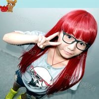 Fashion Red Full Long Straight Cosplay Party Hair women's Wig/Wigs FREE SHIPPING 2429