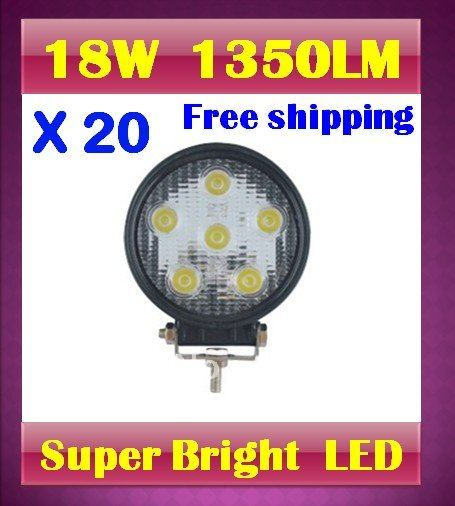 HOT! by DHL ! 20 X 18W Spot beam led work light 1350LM Aluminum tractor mini truck crane ambulance offroad exterior lighting(China (Mainland))