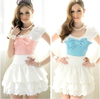 2012 summer new bow bubble short sleeve women&amp;#39;s T shirt