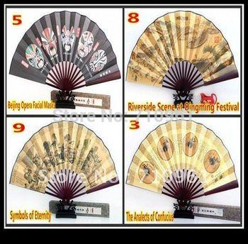 Free shipping hot sale full of chinese culture  Bamboo piece folding fan Silk Folding Gift  Craft Fan