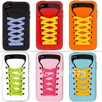 10 PCS Free shipping soft Shoes Sporty Silicone Case for iphone 4 4S