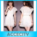 Free Shipping 2013 Women Deep V-neck Lace Short Sleeve Tunic Tops Perspective See Through Mini Dress White