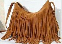 Shipping Free Factory direct 2012 Fringe Tassel Shoulder Messenger handbag Suede handbag-Brown Color ,Message bag