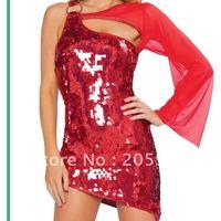Free shipping Red Sequin One Sleeve Mini Dress Women sexy clubwear Wholesale 12pcs/lot 2012 Club dress For Women 2427-3