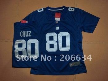 Wholesale - -2012 New Style Women's New York Giants 80# Cruz Blue  Jersey size:S~XXL+Free Shipping