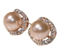 Christmas Gift Min.order is $10 (mix order) promotion! pink pearl 18k rose gold plated stud earrings bride jewelry E21