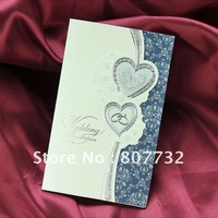 20*12cm customized wedding card,blue crystal heart, print your words and photo on it. Unique wedding,romantic wedding