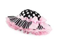 Free Shipping Baby Girls Caps Infant Kids Black White Polka Dot Pink Edge Butterfly Knot Summer Sun Hats 3 pcs