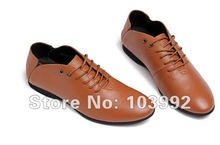 free shipping : 2012 spring new men shoes Lace-Up, flat genuine leather good quality shoes men,3 colors(China (Mainland))