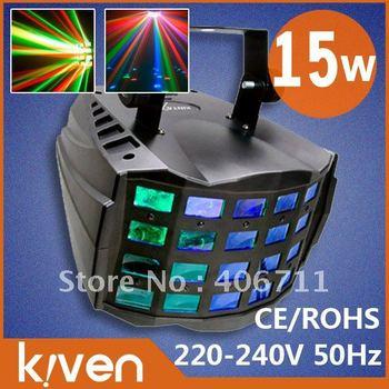 RGB 15w KTV light,Sound control+flash+ rotate,stage lighting ,4 layers,AC220-240V/50Hz ,110-127V/ 60Hz, free shipping