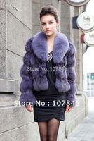2014  Winter Women's Genuine Fox Fur Jacket Coat  Lady Slim Outerwear Coats Garment Female Apparel VK0022