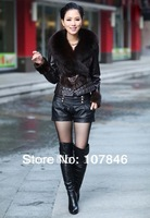 VK0027 Lady Fashion Genuine Soft Sheep Leather Jacket with  Fox & Mink Fur Patchwork Women Short Coat
