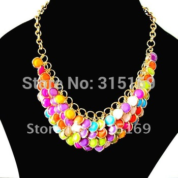 Min Order is $10(Mixed order),TL1205102, Multi Color Round Pendant Ring Connected Gold Iron Chain Gift Lady Promotional Necklace