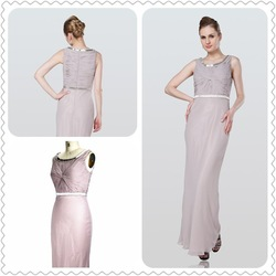 Round Collar Floor Length Beaded & Pleat Chiffon Dress ZR12139(China (Mainland))