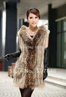 VK0032 Lady Fashion Genuine Knitting Rabbit Fur Vest Waistcoat Raccoon Fur Trimming Hoody Women Fur Outerwear Coats