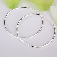 Sterling Silver 925 Jewelry 925 Sterling Silver Simple Slippy Circle Silver Earrings Hoops Drop Hooks Studs Earrings E042