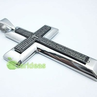 Free shipping +Wholesale  Balck&Silver Stainless Steel Bible Cross Chain Pendant Necklace New Cool Gift Item ID:3595