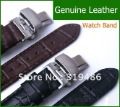 True Leather Silver Butterfly Abrazine Steel Buckle Watch Bands Strap Cowhide LWJ-0106