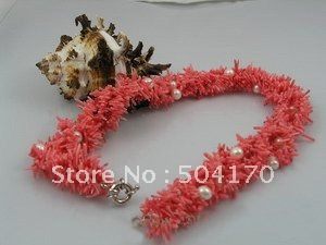 6 Rows 4-5mm Natural Coral Necklace 30Inch Design For Dancing Party 109
