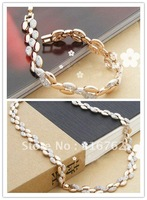 Free Shipping Cheap Wholesale&Retail Fashion Alloy Metal Crystal Necklace Bracelet With Rhinestone Fancy Wheat Jewelry Set