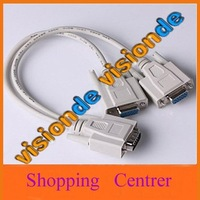 Wholesale 10/Lots Y SPLITTER CABLE FOR SVGA VGA 1 PC to 2 MONITOR  Computer Connector cable free shipping