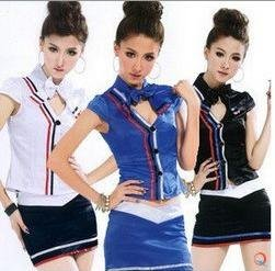Hot Selling Good Quality 2012 Fashion Airline Hostess Women's Costume Play,Sexy Seaman Lady Exotic Apparel Costume