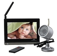 7 Inch 2.4GHz TFT LCD Wireless Voice Control Baby Monitor with Night Vision AV OUT, Free shipping