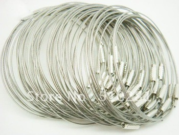 Free ship!!! silver color Stainless Steel Wire Bangle bracelet 9'' 1mm