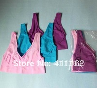 EMS to AU/NZ etc freeshipping 60pcs=20boxes Colorful ahh bra Yoga Bra Purple/Pink/Blue per set with colorbox