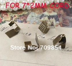 free shipping!!!2000pcs/lot Antique bronze End Caps Crimp Beads brass crimp beads for 7*2MM leather cord(China (Mainland))