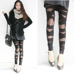 Ripped Cut-out Bandage Black Tight Woman Lady Leggings trousers Sexy Pants + Free Shipping 5114(China (Mainland))