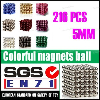 Wholesale(116set Pack)-216Neo Neodymium 5MM Magnet Balls CubePuzzle Pink Blue DarkGreen Gold Sliver Violet Black Magic Buckyball