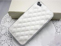 10pcs free Hot Sale Fashion Luxury Design Sheepskin Leather Skin Case Cover For iphone 4 4S with retail package