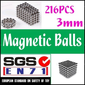 Wholesale (230sets Pack)-NEW 216 x 3mm NEODYMIUM NEO MAGNETIC MAGNET MAGIC BALLS PUZZLE CUBE WITH TIN-WHITE