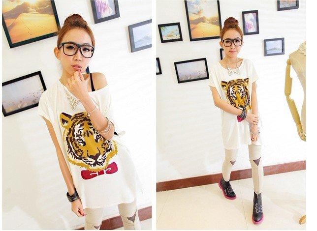 neck women s SHORT sleeve Tiger T shirt Ladies Top Wear T shirt women