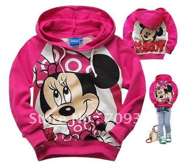Free shipping fashion thin style girl minnie comfortable sweatshirt with cap for spring and autumn coat wholesale and retail(China (Mainland))