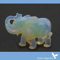 "FACTORY RETAIL  Semi-precious Stone Carvings-2"" Carved Manmade Opal African Elephant Animal Carving, A Quality+20 Stones Choice"