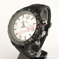 Men's Black Silica Gel Watchband Quartz Analog Watch FREE SHIPPING