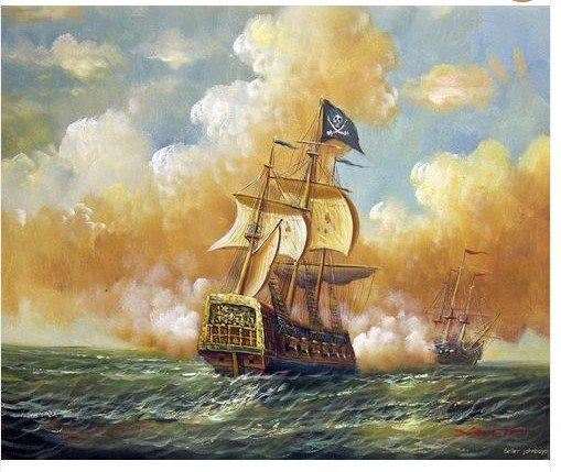 Naval Battle Oil Painting
