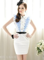 Blue and white juxtaposition tight OL temperament the flouncing striped sleeveless dress