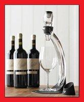 Hot selling! Deluxe Essential Wine Aerator & Tower Magic Decanter Set - Black + Transparent color LS0035