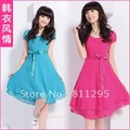 Free shipping ,2012 summer women's fashion short-sleeve chiffon elegant one-piece dress ,Hot Selling