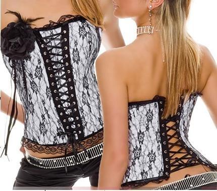 Wholesale 3pcs/lot Sexy boned corset costume Women lace bustier shaper ribbon corsage white black S M L XL XY5193(China (Mainland))