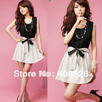 2012 Korean New Women Fashion Ladylike Gold Sequins Collar Waisted Mini Dress 3990