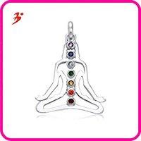 free shipping silver Chakra Buddha Necklace Pendant(A102913)