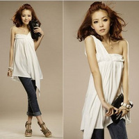 2012 summer new arrival sexy fashion slim one shoulder strapless top women's