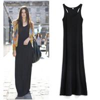 Free Shipping  fashion wind ultra long spaghetti strap one-piece dress tank dress mopping the floor full dress modal
