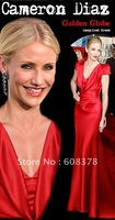 Sexy Cameron Diaz Rose red Plunging V-neck short sleeves Golden Globe inspired celebrity dress formal occasions