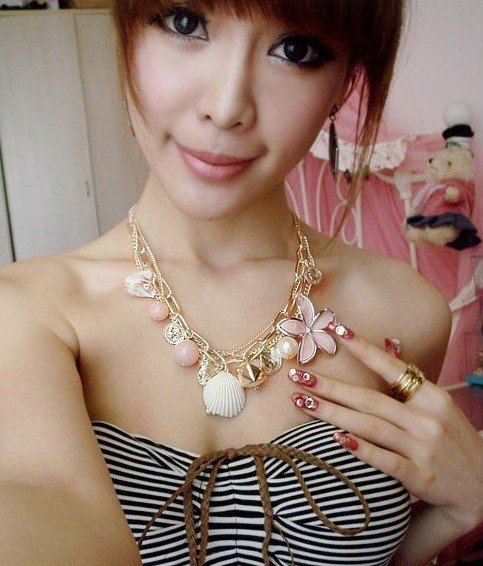 Ocean wind big flower shell Lolita Necklace Fashion multi element necklaces Min.order $15 mix order(China (Mainland))