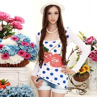 2012 summer women's white red cherry print slim long-sleeve T-shirt